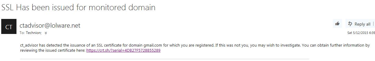 SSL Issued email